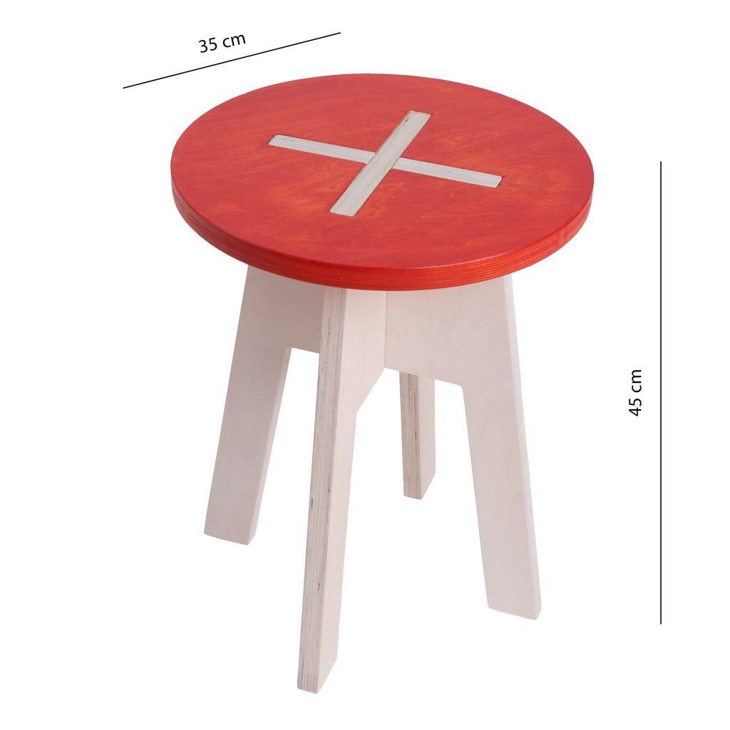 Ümmargune tool / taburet, punane