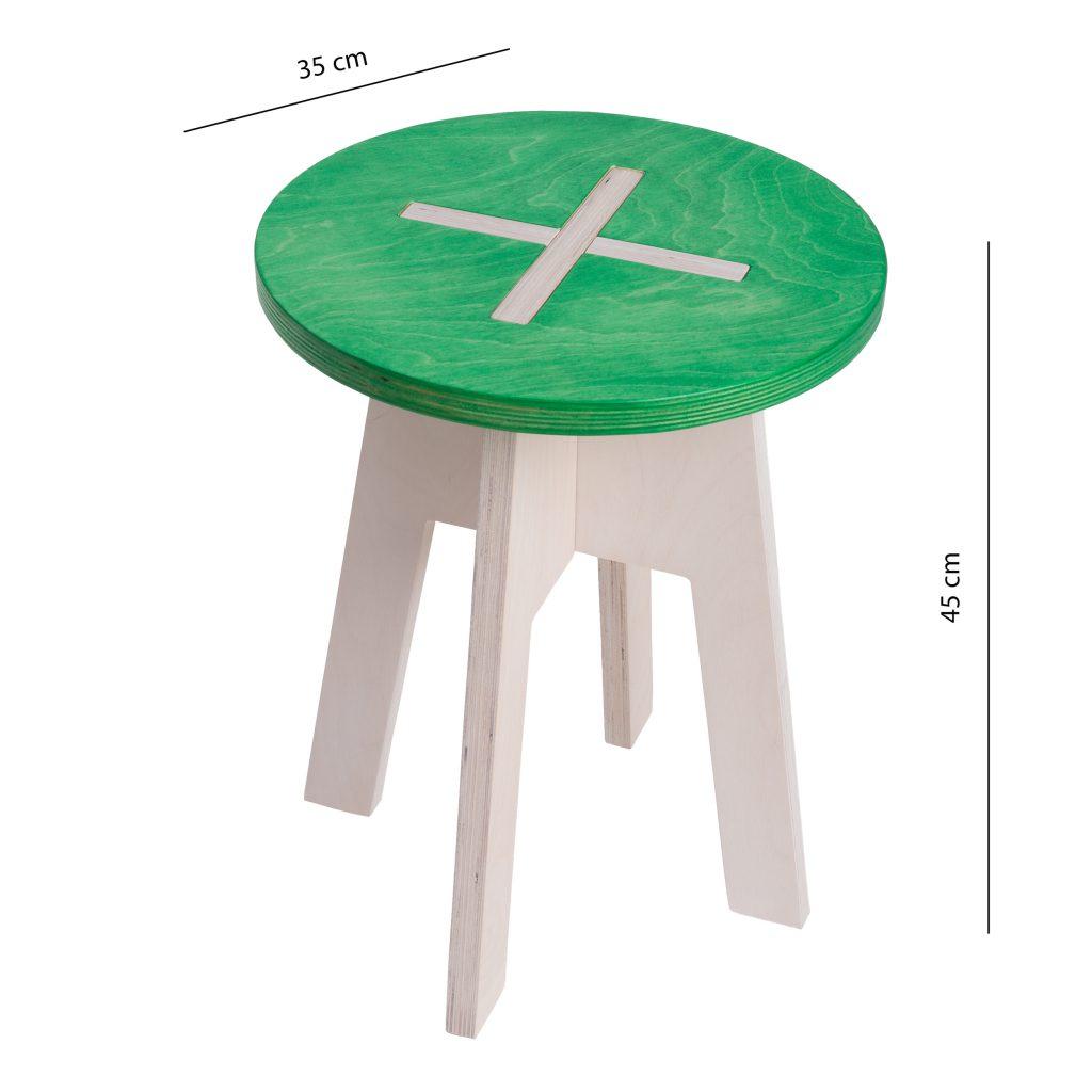 Ümmargune tool / taburet, roheline
