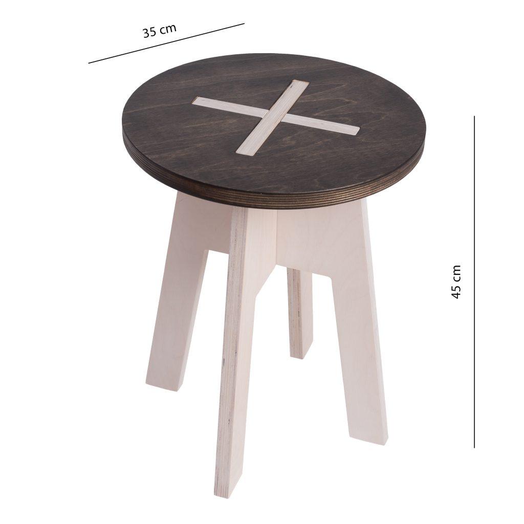 Ümmargune tool / taburet, must