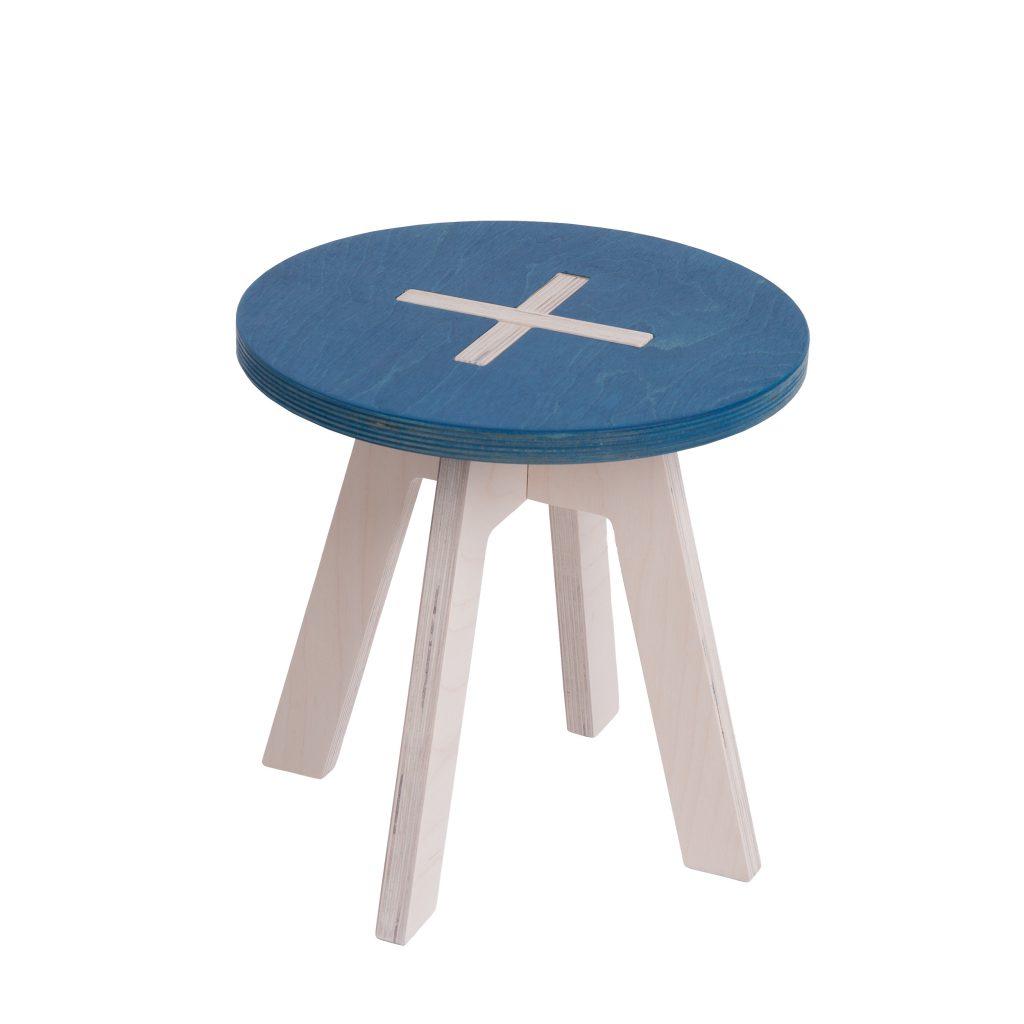 Väike ümmargune tool / taburet, sinine