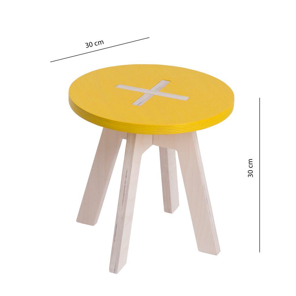 Väike ümmargune tool / taburet, kollane
