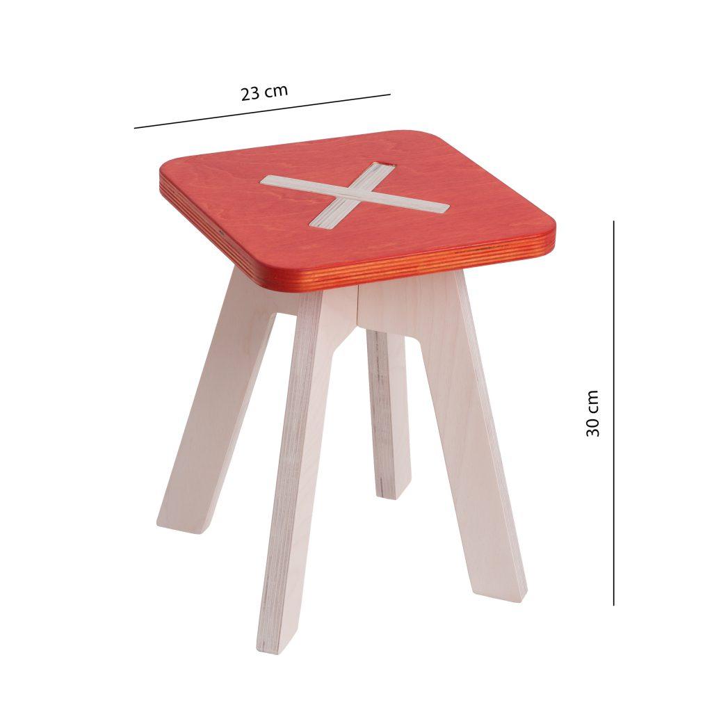Väike kandiline tool / taburet, punane