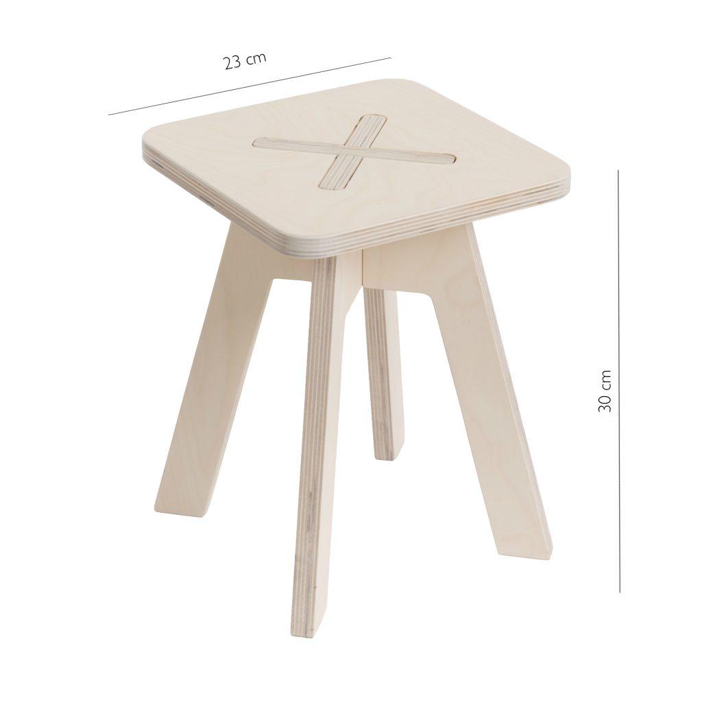 Väike kandiline tool / taburet, valge