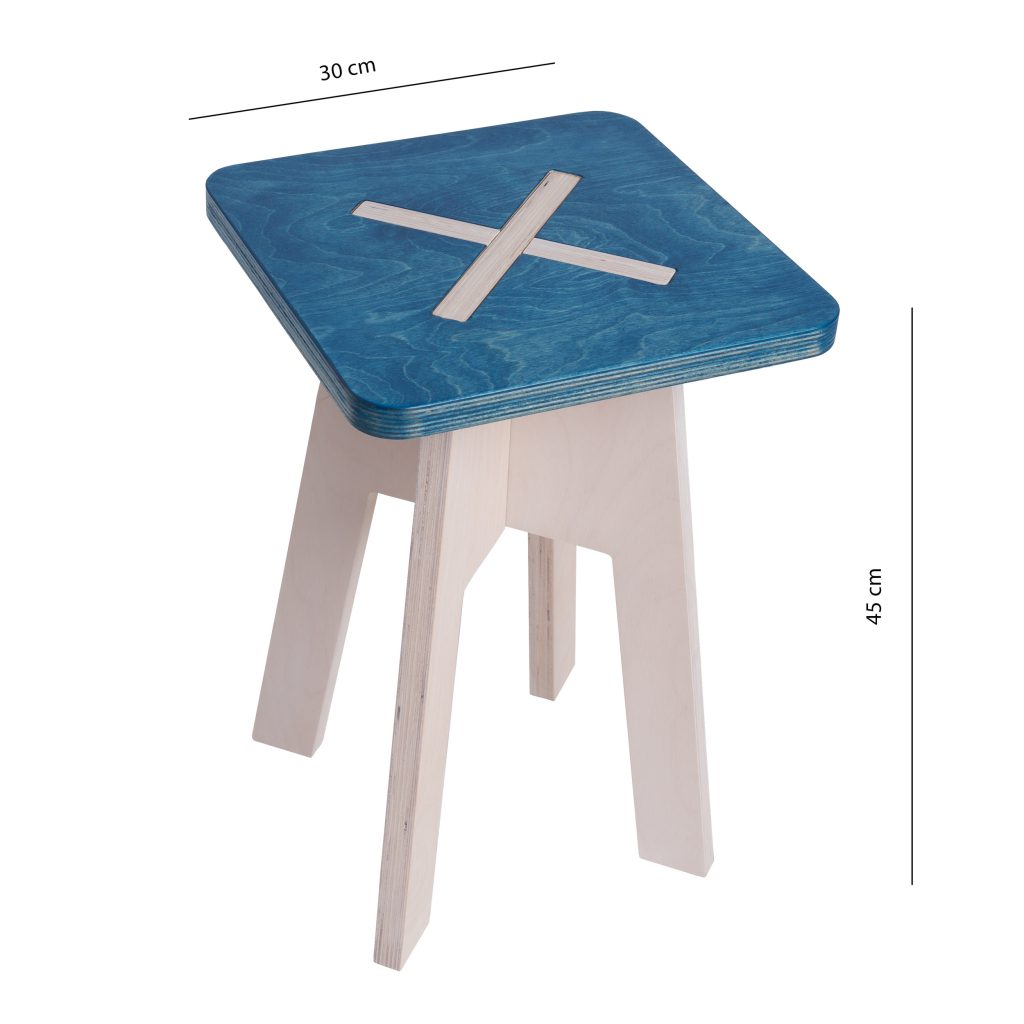 Square chair, blue