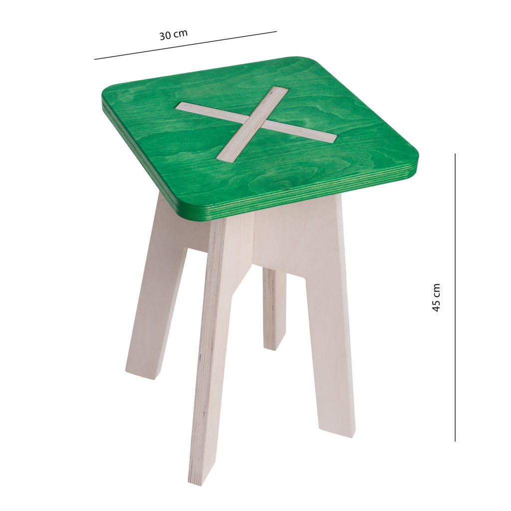 Neliskulmainen tuoli, vihreä