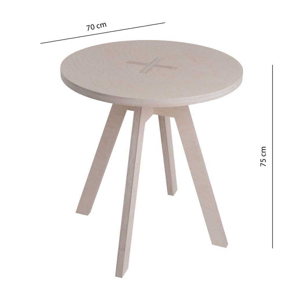 Pyöreä pöytä, valkoinen