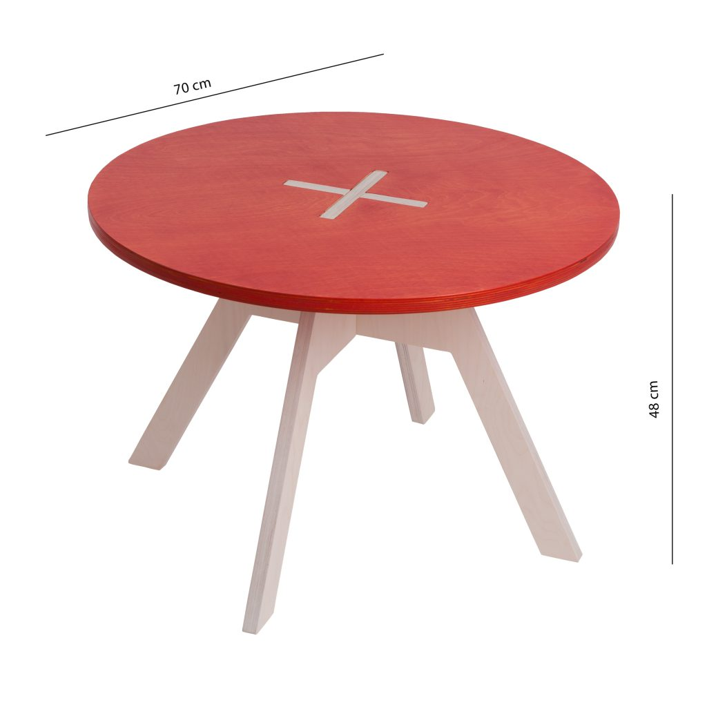 Small round table, red