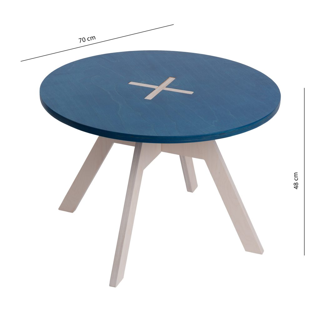 Small round table, blue