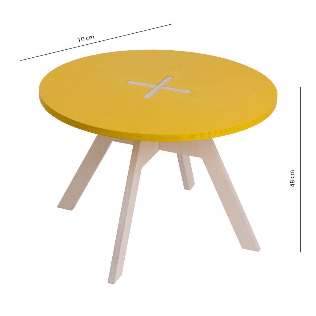 Pieni pyöreä pöytä, keltainen