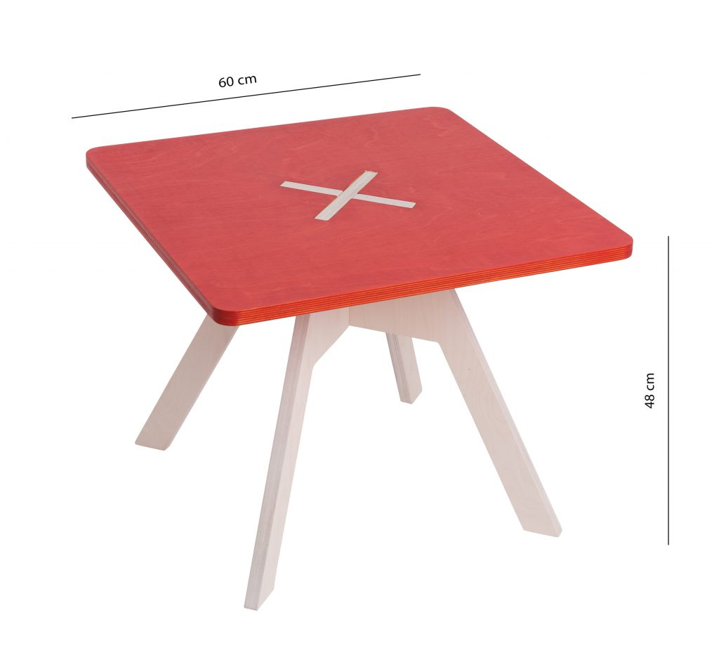 Small square table, red