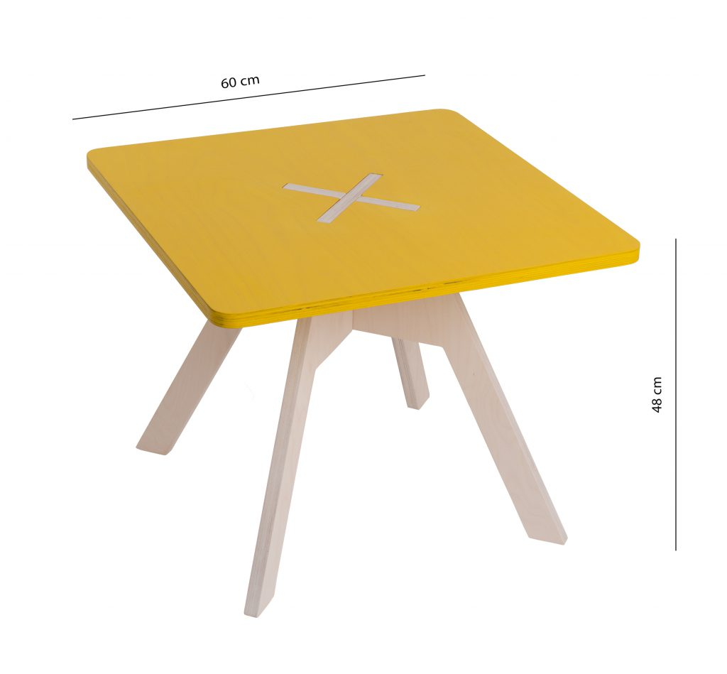 Small square table, yellow