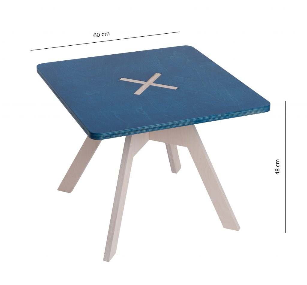 Small square table, blue