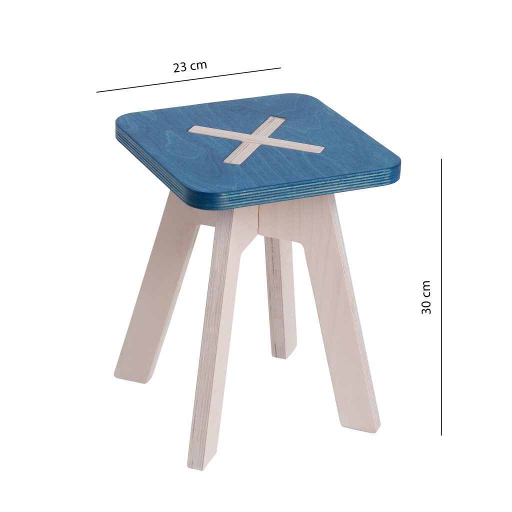 Small square chair, blue