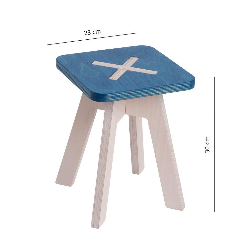 Pieni neliskulmainen tuoli, sininen