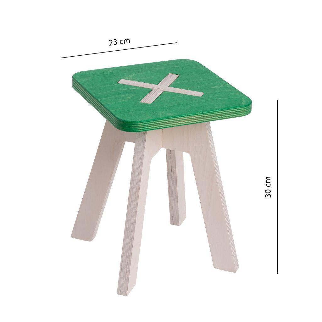 Pieni neliskulmainen tuoli, vihreä